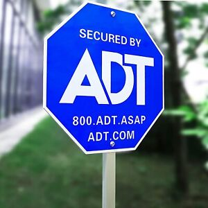 """28"""" ADT Sign,ADT Security Signs 6 Double Sided Stickers Metal Yard Sign Stake"""