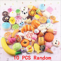 10Pcs Jumbo Medium Mini Random Squishy Toys Panda/Bread/Cake/Buns Phone Straps