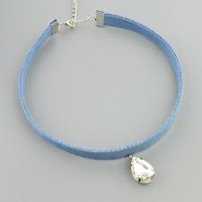 Teardrop Rhinestone Crystal Charm Pendant BLUE DENIM Jean Velvet Choker Wrap