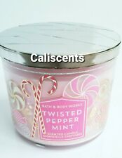 BATH AND BODY WORKS TWISTED  PEPPERMINT 3 WICK CANDLE LARGE 14.5 OZ  2018 EDT.