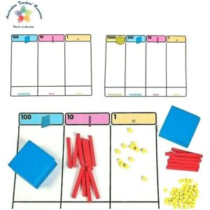 MAB Plastic Blocks 10 Hundreds, 10 Tens, 100 Ones and Place Value Mat