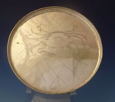 Whiting Sterling Silver Salver Tray with Acid Etched Crab In Net (#0134)