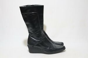 Made in Italy Piampiani Size 10 Womens Black Leather Wedge Boots