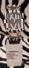 Reloj de lujo diseñador de Jimmy Crystal Adornado con Swarovski ópalo - 538-Negro
