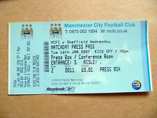 Match Day pase de prensa-Manchester City v Sheffield Wednesday, 16 de enero de 2007