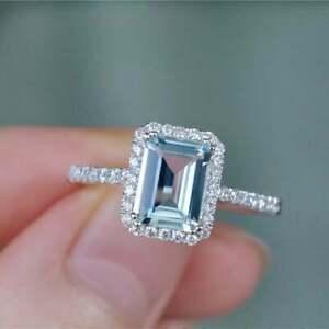 3.00Ct Emerald Cut Aquamarine Diamond Halo Engagement Ring 14K White Gold Finish