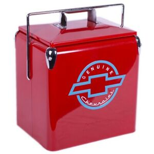 American Retro Classic Embossed Metal Red Chevy Chevrolet Picnic beverage cooler