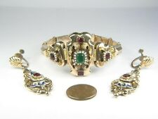 ANTIQUE VICTORIAN 14K GOLD ENAMEL PEARL GARNET EMERALD PASTE BRACELET & EARRINGS