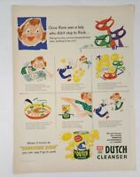 Vintage New Old Dutch Cleanser Print Ad 1954 Life Magazine Advertising