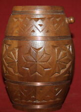 Vintage small hand made carved wood keg flask