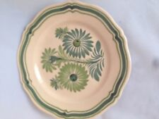 Quimper French Faience Plate  Flower green scallop
