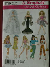 """Simplicity Pattern 4719 Clothes for 11 1/2"""" Dolls fits Barbie wedding gown"""