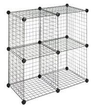 Whitmor Interlocking Durable Black Storage Cubes Organizer Shelving Unit New