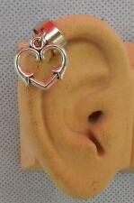 Heart Ear Cuff Charm Drop Dangle Handmade Jewelry Silver Earring Wrap Fashion