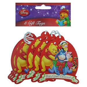 DISNEY 1 x Pack Of 8 Winnie The Pooh Grand Christmas Gift Tags 8.5cm x 7.5cm