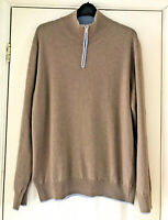 Mens Wool & Cashmere Blend Jumper Sweater Dark Beige 1/4 Zip Sz M Made In Italy
