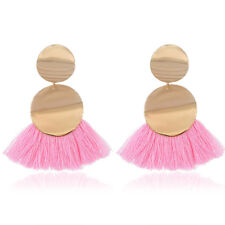 Women Fashion Boho Fringe Statement Gold Plated Tassel Drop Dangle Earrings