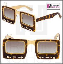 LINDA FARROW Jeremy Scott TV SPECS Brown Tortoise Polarized Sunglasses TVSPECS