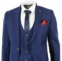 Mens Blue Slim Fit 3 Piece Suit Smart Wedding Party Prom Tonic 2 Tone