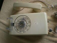 Vintage ITT wall telephone phone, beige, rotary