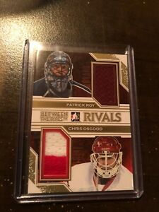 2013-14 Between the Pipes Rivals Dual Jersey GOLD PATRICK ROY & OSGOOD SSP /10