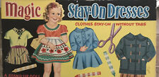 Vintage Paper Dolls MAGIC STAY-ON DRESSES 3 Stand Up Dolls Clothes Cut No Pen