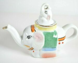 "Vintage Elephant Teapot Porcelain Hand Painted Chinese Pot Pitcher 4.25"" high"