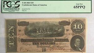 1864 $10 T-68 Ten Dollar Confederate Note PCGS 65PPQ Gem New