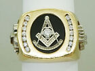 Custom Masonic 32nd Degree Earth Mined Diamond & Onyx Ring Size 11.5 14k Gold for sale