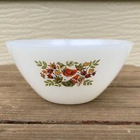 "Arcopal France 4-7/8"" White w Avocado Harvest Gold Red Birds Floral Salad Bowl"