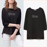 Black Printed T Shirt Long Sleeve Slit Side Top Size S UK 8 10 US 4 6 Zara❤