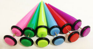 Fake ILLUSION Acrylic Ear Stretcher Taper  Expander Strecher 8mm 6mm 4mm