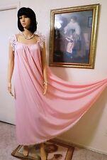 Lucie Ann Vtg Nylon Nightgown Bubblegum Pink Eyelash Lace sleeve size M medium