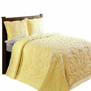 "Ashton Chenille Bed Spread Queen - 102""X110"" In Yellow"