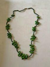 Vintage Green Ceramic Bird Necklace