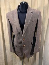 Mens Farah Western Blazer Size 42R Brown Herringbone 2 Button Wool