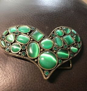 "Brads Heart Shaped Metal Belt Buckle Fits 1.5 inch Green Stones 4.5 X 3 """