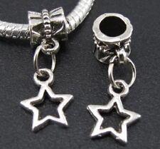 Estrella star charms plata pulsera europea y compatibles 2 unidades
