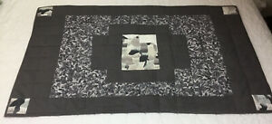 Patchwork Small Quilt, Hand Quilted, Squares, Kitty Cat Prints, Solids, Grey