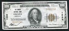1929 $100 THE OMAHA NATIONAL BANK OMAHA, NE NATIONAL CURRENCY CH. #1633 AU