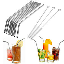 8Pcs Stainless Steel Metal Drinking Straw Straws with 3 Cleaner Brush Kit #J1