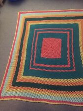 VINTAGE large multi coloured crochet granny square blanket/throw  75 X 66 Inches