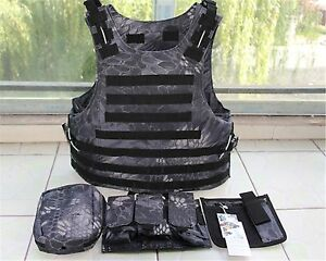 Black Python pattern Combat Tactical Soft Bullet proof vest IIIA NIJ0101.06(M)
