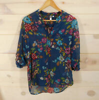 Kut From the Kloth Blouse Women's Sz Medium Sheer Blue Floral Button Front Shirt