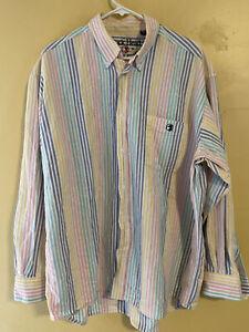Vintage 90s Duck Head Button Up OXFORD Shirt Rainbow Color Block Pale Striped XL