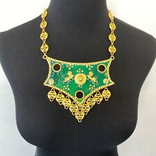 Accessocraft NYC Necklace Green Enamel Lions Breastplate Gold Tone Vintage SM