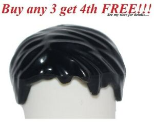 ☀️NEW Lego Minifig Hair Male Short BLACK TOUSLED Ninjago Ninja Jay Police