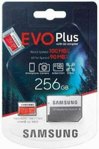 Samsung® EVO Plus 256GB Memory Card C10 U3 4K 100MB/s with SD Adapter