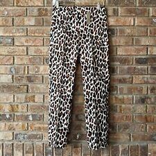 J. Crew Leopard Remi Pant Pockets High Rise Cotton Stretch Size 2 NEW