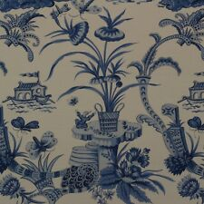 """CLARENCE HOUSE PANGONG BLUES CHINOISERIE TOILE EXCLUSIVE FABRIC BY YARD 54""""W"""